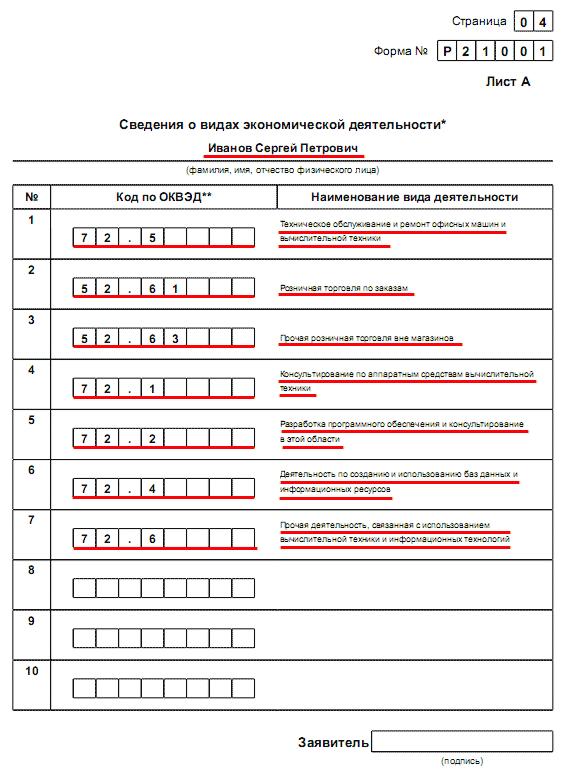 Образец заполнения о государственной регистрации ип семинары для директоров по оптимизации налогов
