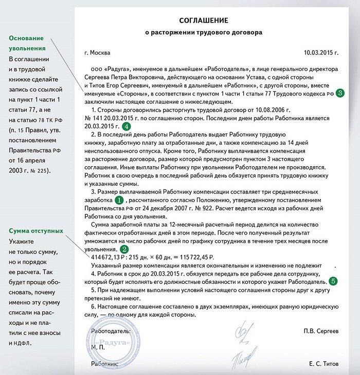 соглашение при увольнении